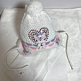 Комплект - дитяча шапочка + шарф в'язаний на підкладці з бубоном, фото 2