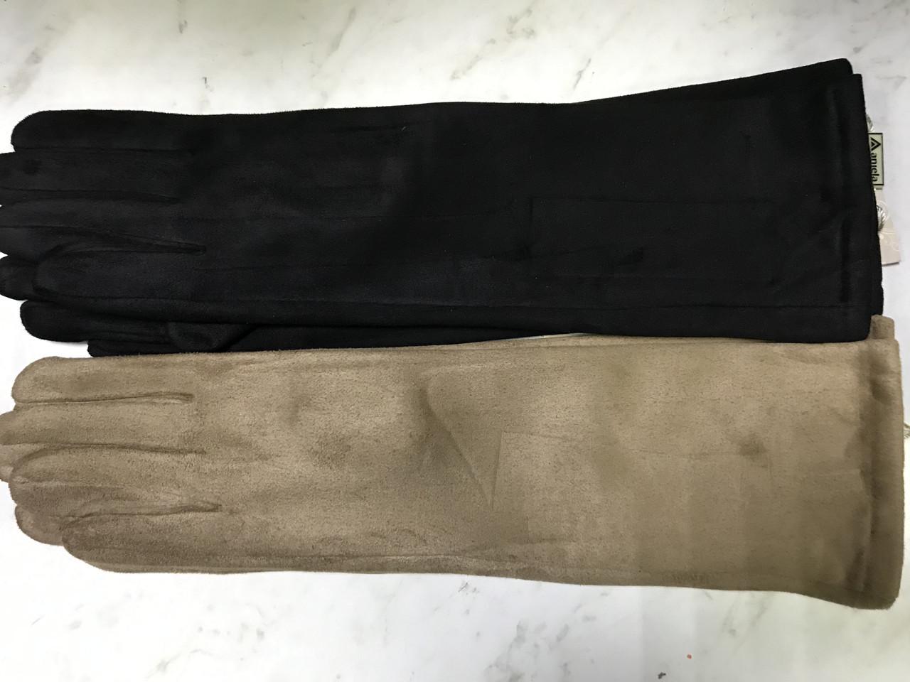 """Перчатки женские эко замша удлиненные""""Сенсор"""" для телефонов чёрные и бежевые"""