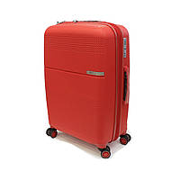 Средний пластиковый чемодан из полипропилена Airtex 635 Midi красный, фото 1