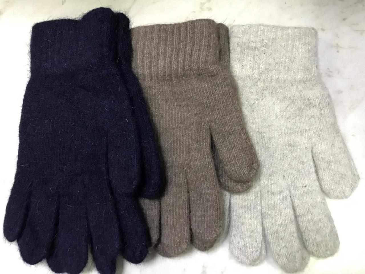 Перчатки одинарные плотной вязки цвет св серый кофе с молоком и синий