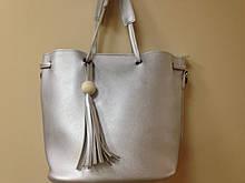 Женская сумка  24 х 27 см цвет серебристый
