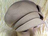 Бежевая женская кашемировая эксклюзивная кепка, фото 2