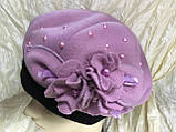 Берет с большой розой и жемчужинами рамер 53-55, фото 2