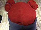 Красная с серым  шапочка с ушками для девочек от пол года до 2 лет, фото 2