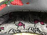 Красная с серым  шапочка с ушками для девочек от пол года до 2 лет, фото 3