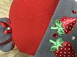 Красная с серым  шапочка с ушками для девочек от пол года до 2 лет, фото 4