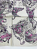 Шейный платок с добавкой натурального шёлка  цвет пудра и молочный с рисунком, фото 2