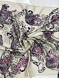 Шейный платок с добавкой натурального шёлка  цвет пудра и молочный с рисунком, фото 3