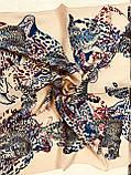 Шейный платок с добавкой натурального шёлка  цвет пудра и молочный с рисунком, фото 4