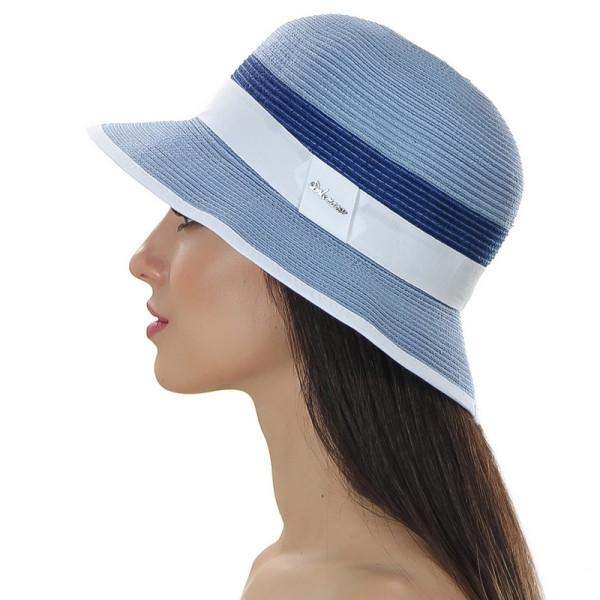 Женская шляпа ширина поля 6 см цвет голубой с синим