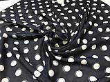 Шарф-палантин шифон  174х75 см молочный с черным  горохом, фото 3
