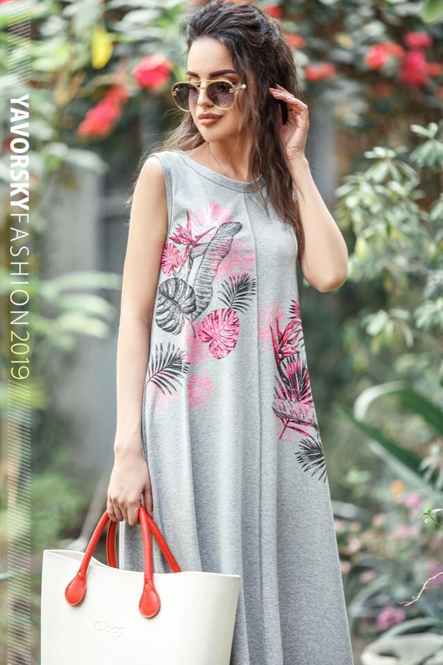 Светло серое платье  длинное  вискоза хлопок с рисунком  размер 42-50 розовый