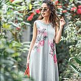 Светло серое платье  длинное  вискоза хлопок с рисунком  размер 42-50 розовый, фото 2