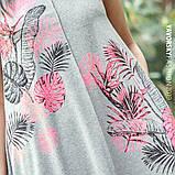 Светло серое платье  длинное  вискоза хлопок с рисунком  размер 42-50 розовый, фото 3