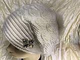 Женский  бежевый берет-шапка ангоровый с песцовым помпоном, фото 2