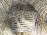 Женский  бежевый берет-шапка ангоровый с песцовым помпоном, фото 3