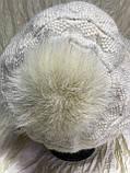 Женский  бежевый берет-шапка ангоровый с песцовым помпоном, фото 4