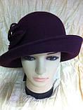 Фетровая шляпа  с полями с цветочной композицией, фото 2