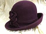 Фетровая шляпа  с полями с цветочной композицией, фото 4