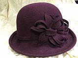 Фетровая шляпа  с полями с цветочной композицией, фото 5