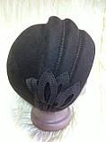 Фетровый берет шляпа с тремя  выпуклыми складками, фото 2
