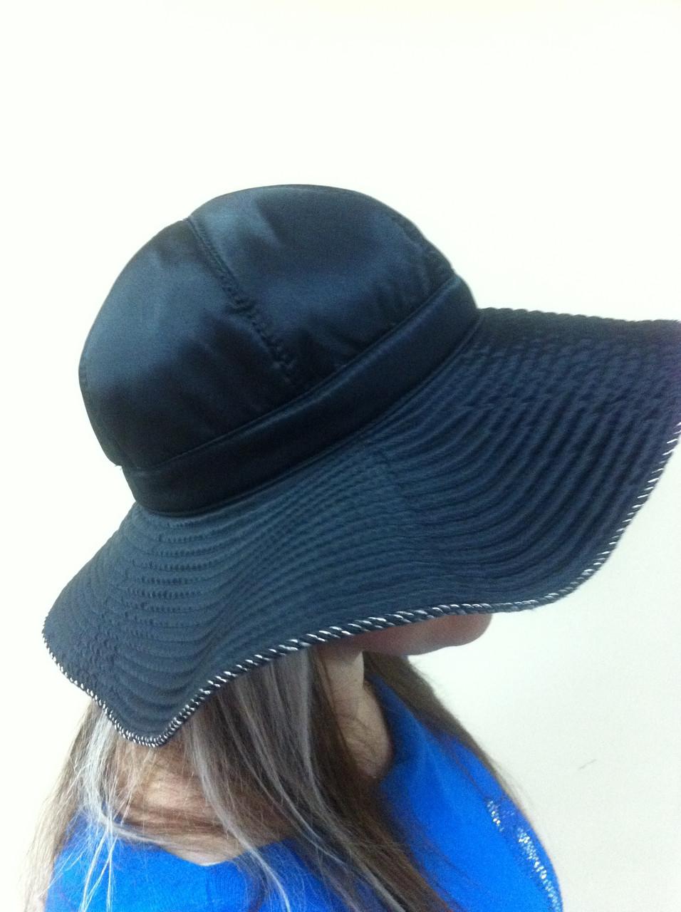 Элегантная шляпка с большими  мягкими полями из плащёвки