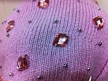 Женский ангоровый берет украшенный россыпью крупных камней, фото 3