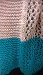 Яркий трёхцветный ажурный шарф  в полоску, фото 2