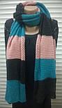 Яркий трёхцветный ажурный шарф  в полоску, фото 3