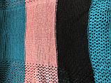 Яркий трёхцветный ажурный шарф  в полоску, фото 4