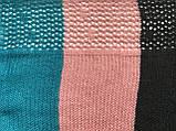 Яркий трёхцветный ажурный шарф  в полоску, фото 5