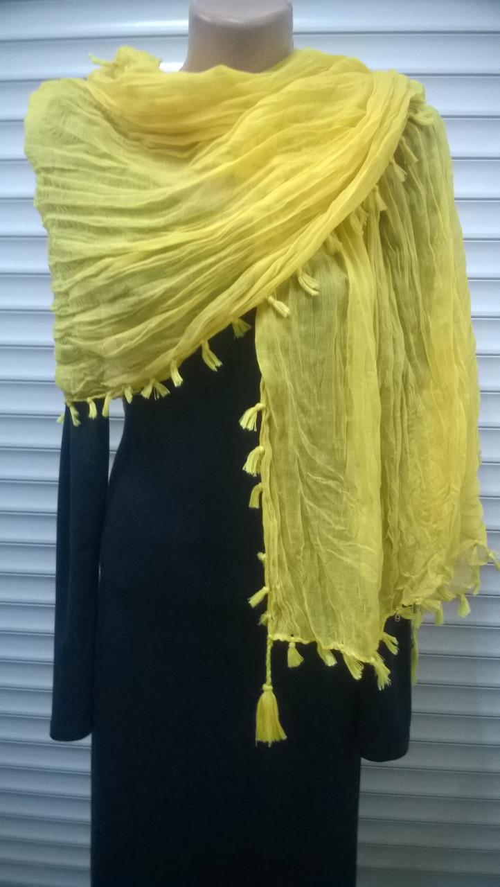 Однотонний жовтий шарф з бавовни