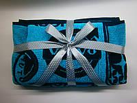 """Подарочный набор махровых жаккардовых полотенец """"АВТО бирюзовый"""", фото 1"""