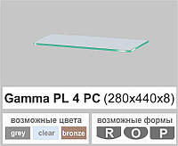 Скляна поличка настінна навісна прямокутна скляна полиця Commus PL4 PC (280х440х8мм), фото 1