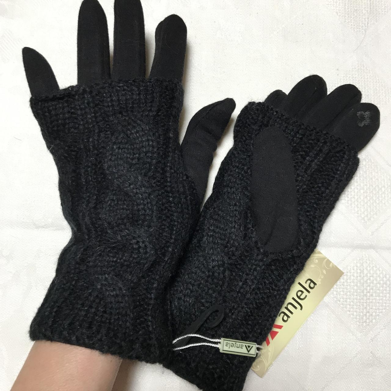 Перчатки вязаные сенсорные с  митенками с брошью цвета разные