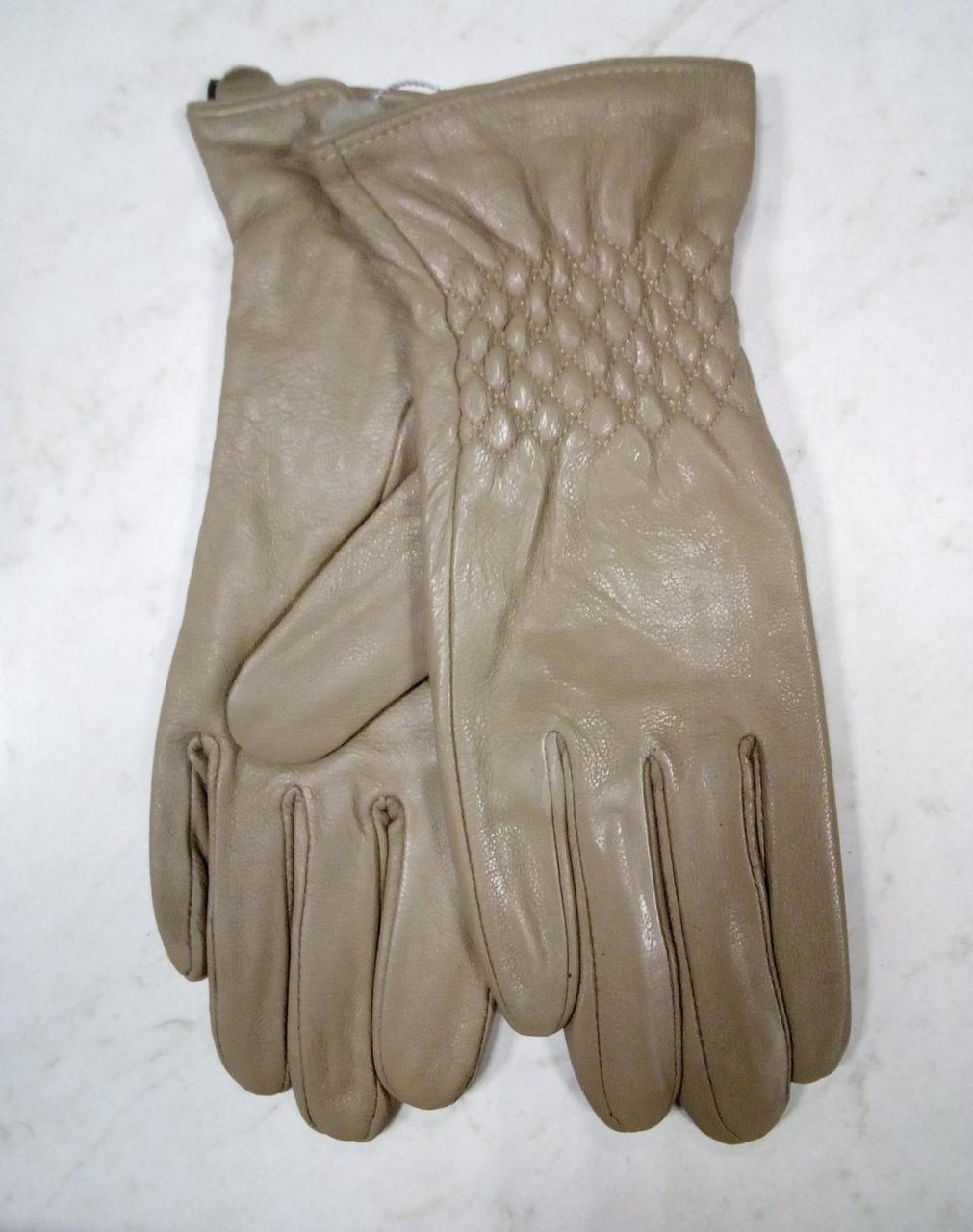Женские  перчатки из натуральной мягкой кожи цвет бежевый  7.5 -8