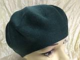 Женский зелёный шерстяной гладкой вязки берет-шапка, фото 2