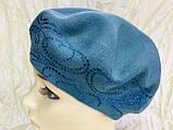 Женский зелёный шерстяной гладкой вязки берет-шапка, фото 4