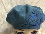Женский зелёный шерстяной гладкой вязки берет-шапка, фото 5