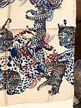 Шейный платок с добавкой натурального шёлка красный с рисунком леопард, фото 3