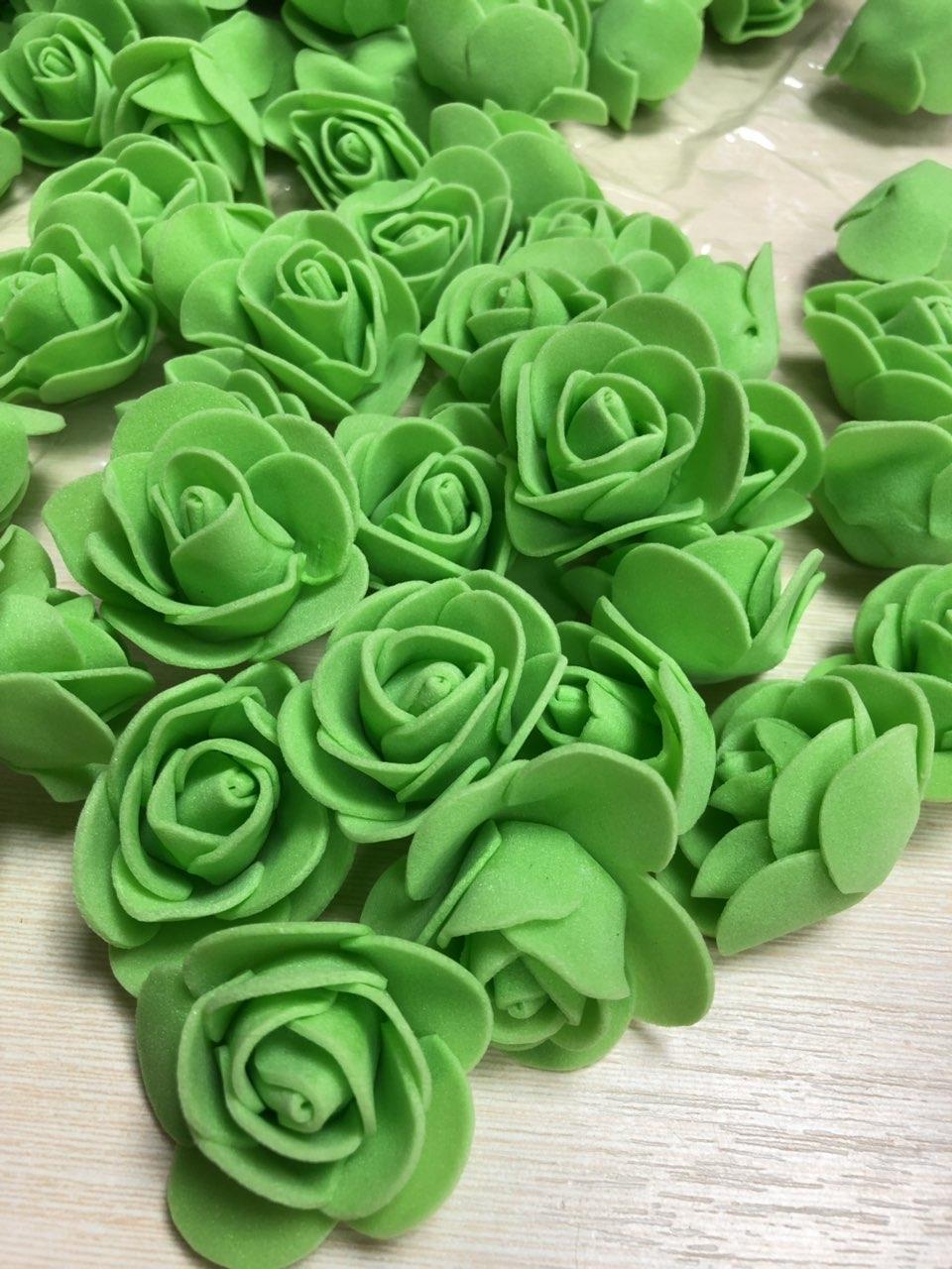 Розы из латекса, зеленый (ФОМ, FOAM) 500 шт пачка (для мишек)