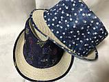 Женская шляпа  из соломки и ткани цвет разноцветный и синий, фото 2