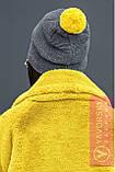 Молодежная шапка с яркими бубоном, фото 3