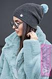 Молодежная шапка с яркими бубоном, фото 6