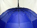 Зонт - трость полуавтомат унисекс на 16 карбоновых спиц цвет темно синий, фото 3