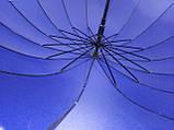 Зонт - трость полуавтомат унисекс на 16 карбоновых спиц цвет темно синий, фото 5