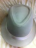 Шляпа федора бежевого  цвета с лентой, фото 2