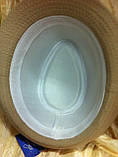 Шляпа федора бежевого  цвета с лентой, фото 3