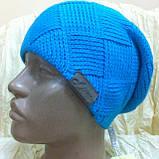 Молодежная шапка вязанная объёмным рисунком одинарная, фото 2