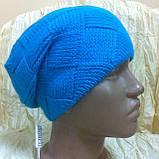 Молодежная шапка вязанная объёмным рисунком одинарная, фото 3
